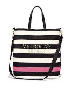 Image Is Loading Victoria 039 S Secret Striped Canvas Tote Bag
