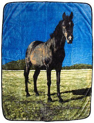 Black Beauty Horse Ranch Lodge Rustic Cabin Raschel Throw Blanket 50x60