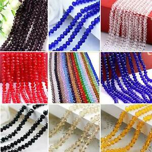 4mm-6mm-8mm-Faceted-Rondelle-Crystal-Glass-DIY-Craft-Finding-Loose-Spacer-Beads