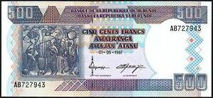 1997 Burundi 500 Francs Banknote * Ab 727843 * Unc * P-38a *-afficher Le Titre D'origine Excellente Qualité
