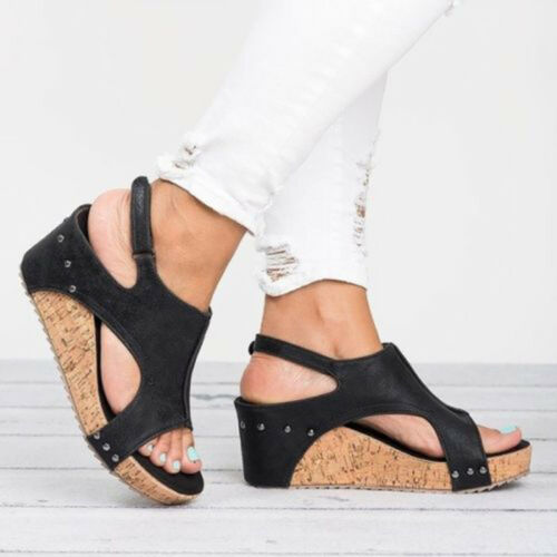Womens Leather Ankle Strap Peep Toe Sandals Summer Platform Wedge Shoes Size