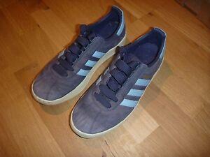 Details zu ADIDAS Trimm Trab Gr. 44 45 US 10,5 Retro Sneaker Old School blau weiß TOP