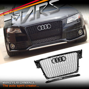 Gloss-Black-Honeycomb-RS4-Style-Front-Bumper-Grille-Grill-for-AUDI-A4-B8-09-11