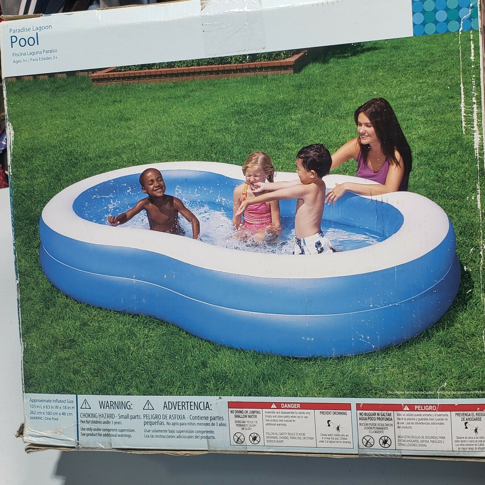 Paradise Lagoon Inflatable Pool 103 in L x 63 in W 18 in H 151 gal