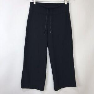 lululemon black stretch drawstring cropped capri athletic