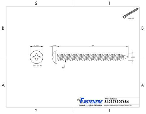 "#6 x 1-1//2/"" Sheet Metal Screws Self Tapping Pan Head Stainless Steel Qty 1000"