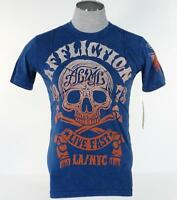 Affliction Live Fast La/nyc Blue Vintage Short Sleeve Tee T Shirt Mens