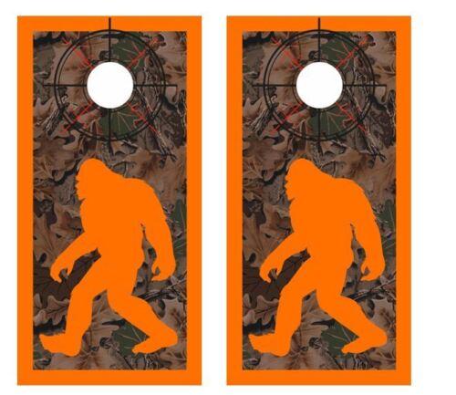 Realtree Camo Bigfoot Hunter Crosshair Boarder Cornhole Board Wraps #2614