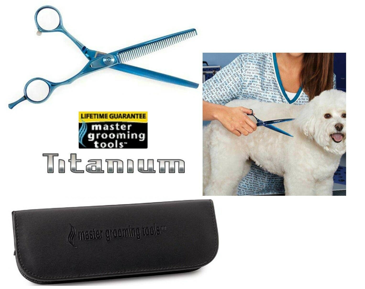 Master Grooming Tools TITANIUM 42 Tooth BLENDING bluee SHEAR SCISSOR Pet THINNING