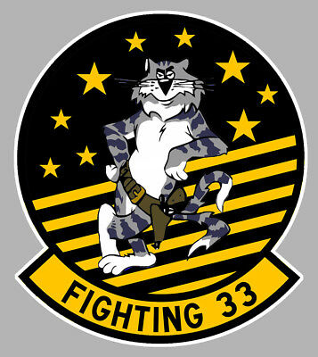 Dashing Grumman Tomcat F14 Badge Blason Vf33 Starfighters 10cm Avion Sticker Av111 Skilful Manufacture Badges, Insignes, Mascottes