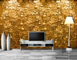 3D gold Gourd 4122 Wallpaper Murals Wall Print Wallpaper Mural AJ WALL AU Carly