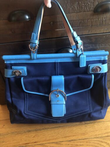 Vintage Coach Large Blue Canvas Turnlock Hamptons