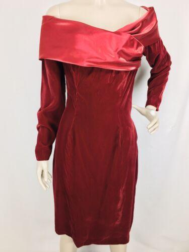Vintage 50s dress burgundy red satin dress dot pattern half sleeve event mid century dress medium large M L