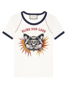 a69b62a7 New Gucci Blind for Love Print Cotton-Jersey Cat Shirt Size S ...