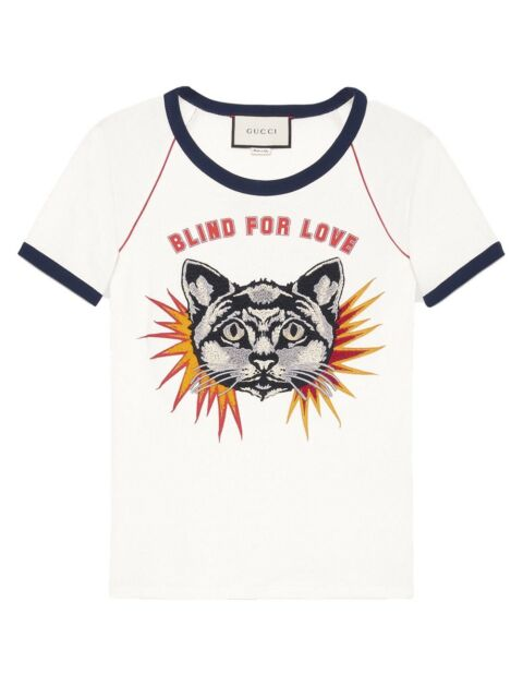 e8e0a387 New Gucci Blind for Love Print Cotton-Jersey Cat Shirt Size S $980.00 *Sold