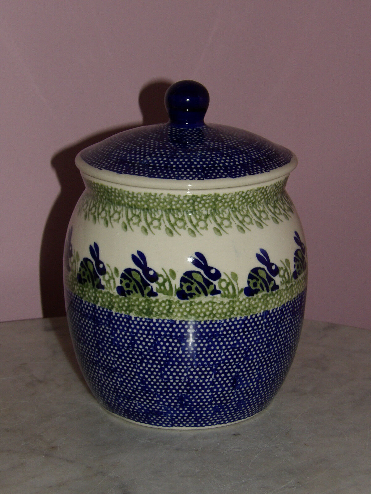 Polish Pottery 3 L Canister Cookie Jar  Bunny Pattern