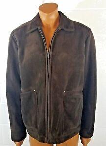 5af3cf8d5 Details about COLUMBIA Men's Brown Faux Suede Bomber Jacket Size Medium  Sherpa Lined Zip Coat