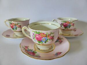 Vintage-Colclough-Pink-Demitasse-Cups-and-Saucers-Set-of-3-Bone-China-1950s