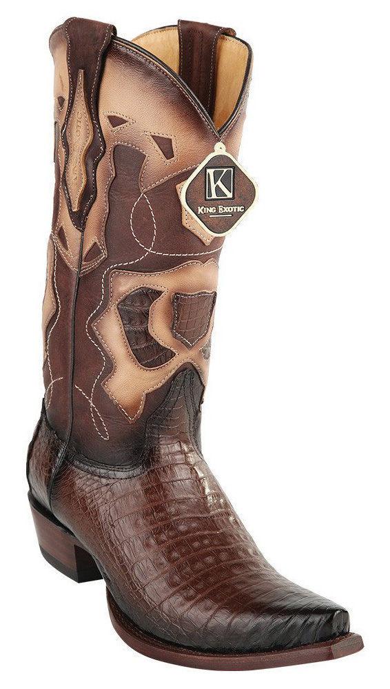 King exótico Marrón Genuino Cocodrilo Western Cowboy SNIP Toe bota 94 DRDCC 16