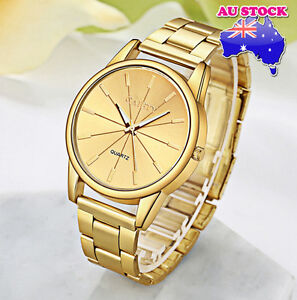 Wholesale-Luxury-Classic-Men-039-s-Stainless-Steel-Gold-Plated-Dial-Quartz-Watch