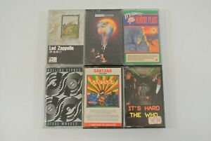 Led Zeppelin Robert Plant Rolling Stones Santana The Who Lot of 6 Cassette Tapes