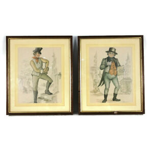 Vtg-Pair-Pickwick-Papers-Drawings-Illustrations-Charles-Dickens-Pictures-Framed