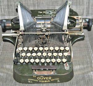 ANTIQUE OLIVER No.3 TYPEWRITER STANDARD VISIBLE WRITER