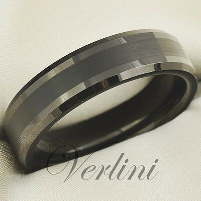Black Tungsten Carbide Ring Beveled Wedding Band Comfort Fit Class Rings Jewelry