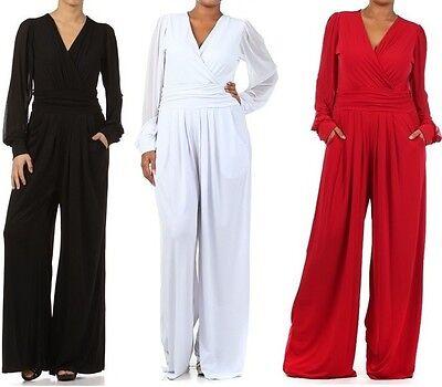 Plus Women's Solid Wide Leg Dress Jumpsuit Pant Suit Mesh Chiffon Long Sleeve