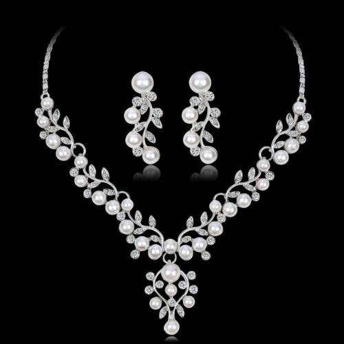 Charme Robe de Mariage Cristal Strass Femmes Collier Boucles d/'oreilles Set Bijoux Hot