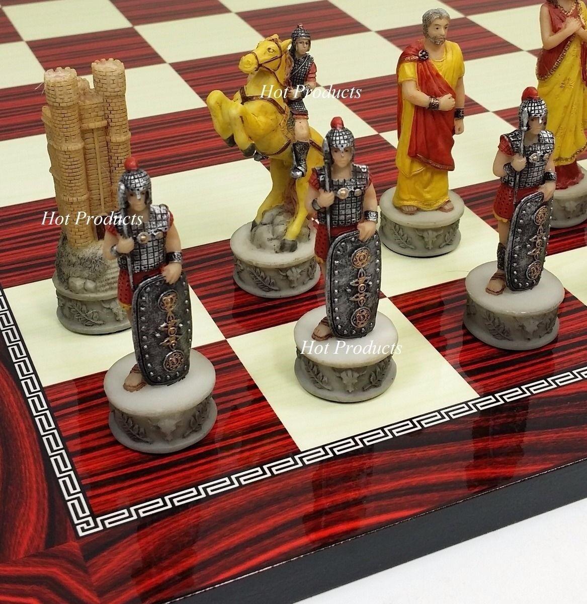 Trojan War Greek Mythology Troy  Spartan CHESS SET W  CHERRY Coloreeeee tavola 17   tempo libero