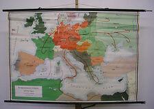 schöne alte Schulwandkarte Imperialismuns Großdeutschland Krieg 140x96 ~1955 map
