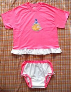 ADULT SISSY TOP AND PANTIES DIAPER SET BABY STYLE ABDL SNOW WHITE PRINCESS