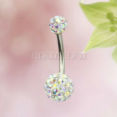 1x Colorful Navel Belly Button Bar Ring Barbell Crystal Ball Body Piercing Hot