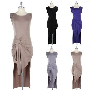Cap-Sleeve-Ruched-Front-Solid-Dress-Round-Neck-Side-Slits-Gorgeous-Cotton-S-M-L