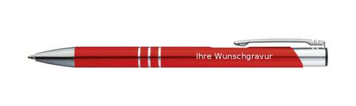 Farbe mit Gravur rot 100 Kugelschreiber aus Metall