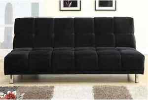 Contemporary Black Microfiber Couch Adjustable Futon Sofa Living Room Furniture