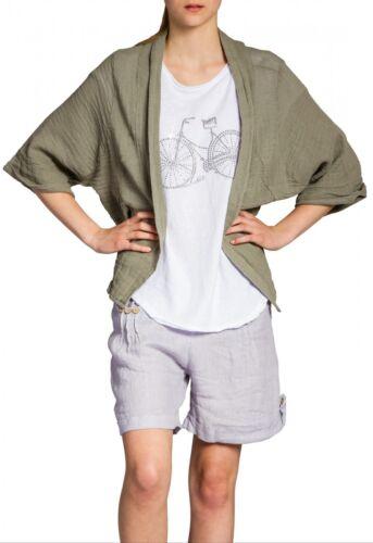 STJ012 XL NEU CASPAR Damen leichte Sommer Leinen Baumwoll Jacke Cardigan S