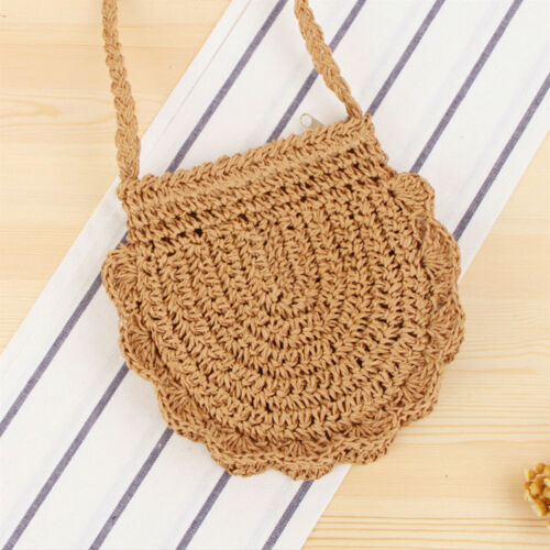 Women Woven Handbag Summer Beach Tote Straw Bag Round Rattan Shoulder Purse