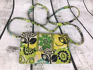 Vera Bradley Limes UpStrap Wallet Crossbody Clutch 5 x 7.5 Yellow Green Floral