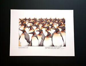 Simon Drew Print You're Unique Penguins Signed Entertaining Art Large Quirky