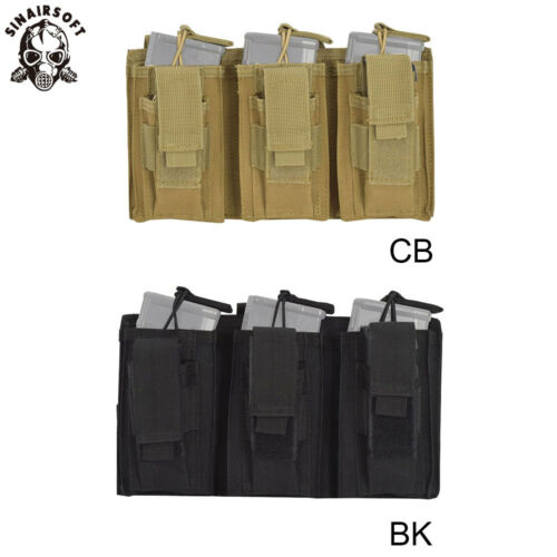 Tactical MOLLE Triple .223//5.56mm Open Top Mag Magazine Pouch Paintball Airsoft