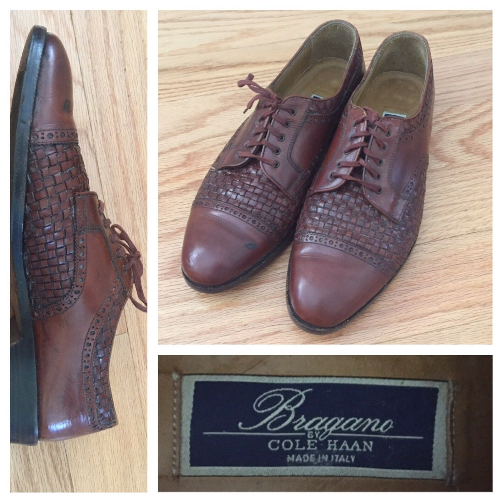 Cole Haan Bragano Italian Mens 9M Brown Leather Oxford Dress shoes Vibram Sole