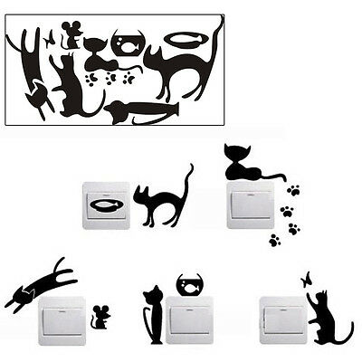 Creative Cat Switch Removable Wall Sticker PVC Vinyl Decal Home Decor