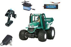 Tamiya-1-10-RC-Farm-King-Bausatz-Wheelie-Traktor-RTR-KIT-Servo-Funke-Akku