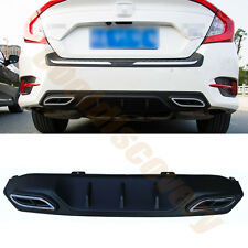 Double Decorative Exhaust Tip Rear Bumper Diffuser For Honda Civic 4Door 2016-17