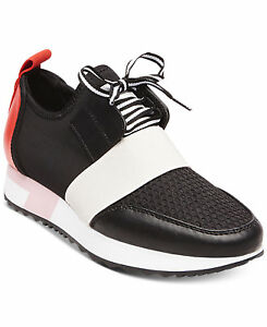 Steve-Madden-Antics-Sneakers-Athleisure-Women-Shoes-Black-Red-Multi-Size-6