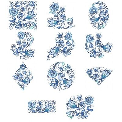 DELFT BLUE CIRCLES FLOWERS EMBROIDERED QUILT BLOCKS