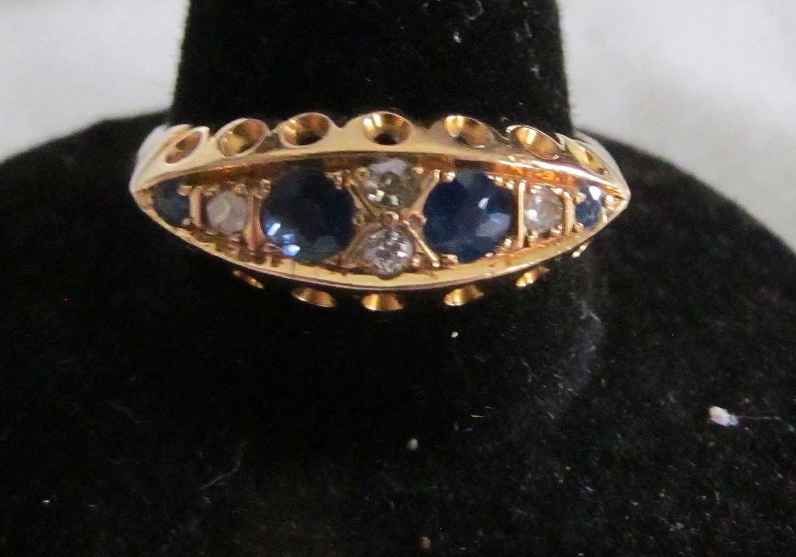 Fine ATQ 18K gold Art Deco 3-Stone Panel Ring w pink Head Sapphires & Diamond