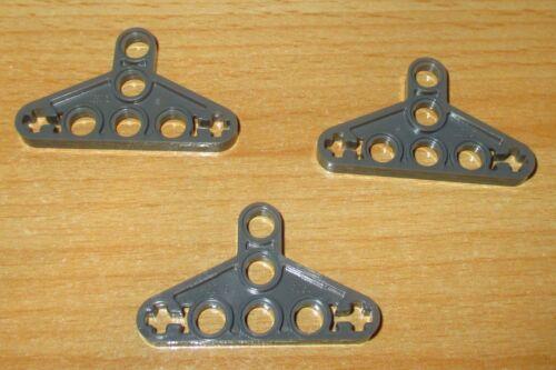 LEGO Technique-Triangle Lochplatte 2905 3 pièces-dans Neuf Sombre Gris